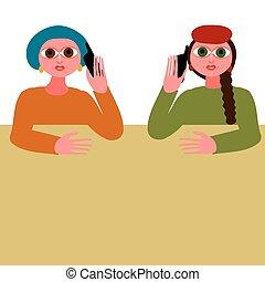 mobile, deux, conversation, ph, ton, femmes