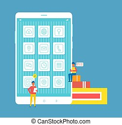 Mobile Developers and Phone Vector Illustration