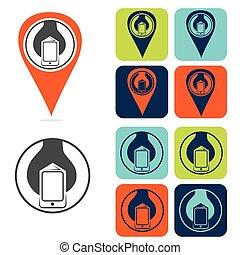 mobile development icon set flat design