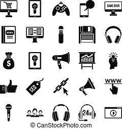 Mobile development icons set, simple style
