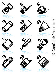 Mobile Device Black Icon Set - Collection of portable...
