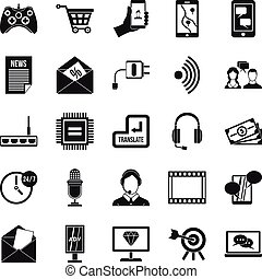 Mobile device icons set, simple style