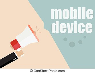 mobile device. Megaphone Flat design vector business illustration concept Digital marketing business man holding megaphone for website and promotion banners.