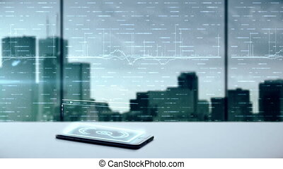Mobile device projecting a business hologram. - Mobile...