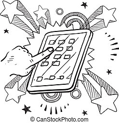 Mobile device sketch - Doodle style tablet or mobile device ...