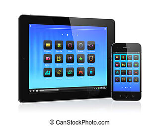 Mobile devices - 3d illustration of computer tablet and ...