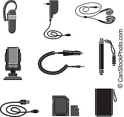 Mobile devices accessories icon set