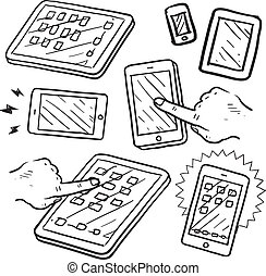 Mobile devices and smartphones - Doodle style mobile devices...