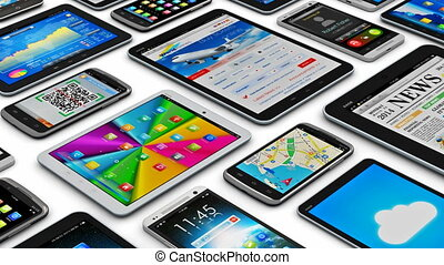 Creative abstract mobility and digital wireless communication technology business concept: group of tablet computer PC and modern touchscreen smartphones or mobile phones with colorful display screen interfaces with icons and buttons isolated on white background