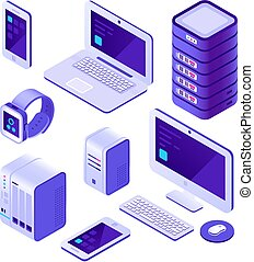 Mobile devices isometric set. computer, server and laptop, smartphone. Cloud database system vector 3d collection