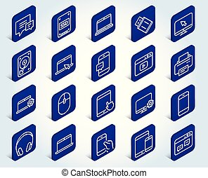 Mobile Devices line icons. Laptop, SSD and HDD.