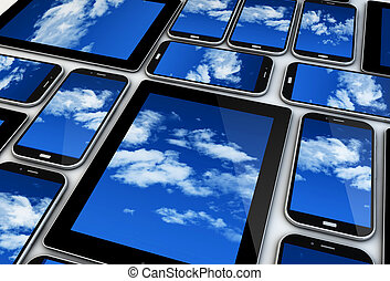 mobile devices render: cloud concept
