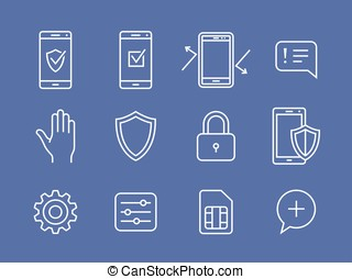 Mobile devices security icons