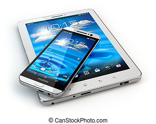Mobile devices. Smartphone and tablet pc on white isolated ...