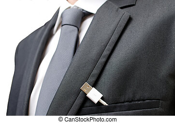 Mobile devices still needs wires - A businessman with a usb ...