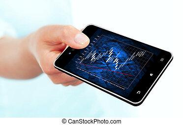 mobile, diagramme, main, téléphone, tenue, marché, stockage