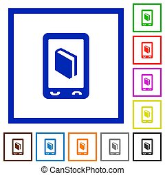 Mobile dictionary flat framed icons