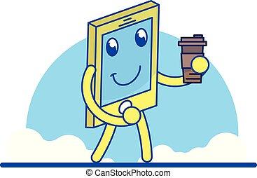 mobile, divertente, cartone animato, telefono