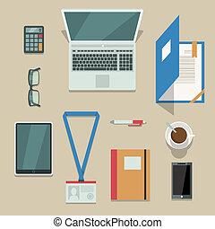 mobile, documents, appareils, bureau, lieu travail