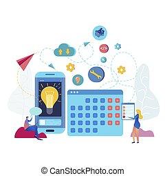 mobile, domanda, calendario, vettore, illustrazione