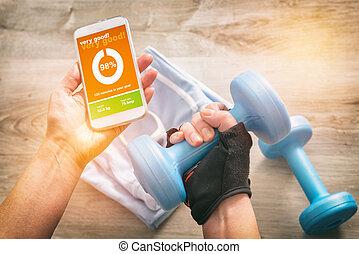 mobile, domanda, concetto, sport