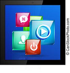 mobile, domande, concetto, vettore