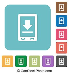 Mobile download rounded square flat icons