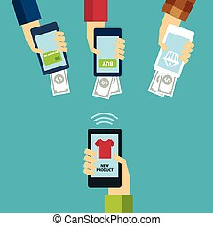 mobile e-commerce concept flat design