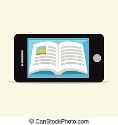 mobile, e-livre, téléphone., book., numérique