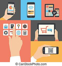 mobile, e, tavoletta, comunicazione affari, uso