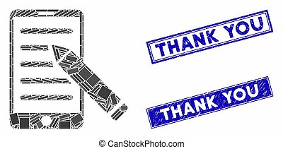 Mobile Edit Pencil Mosaic and Distress Rectangle Thank You Stamps