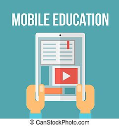 Mobile education concept. Vector illustration