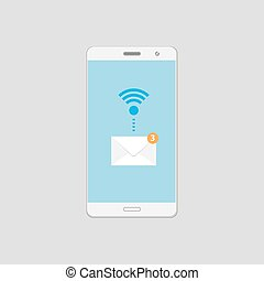 Mobile email alert on Smartphone screen.