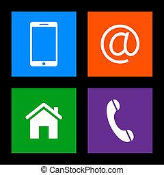 mobile, email, icônes, -, boutons, téléphone, contact, maison