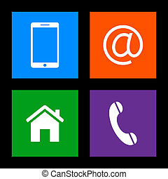 mobile, email, icone, -, bottoni, telefono, contatto, casa