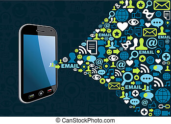 Social media network connection concept smart phone. Vector illustration layered for easy manipulation and custom coloring.