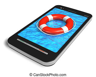 Mobile emergency service concept: touchscreen smartphone...