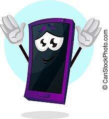 Mobile emoji with his hands up illustration vector on white background