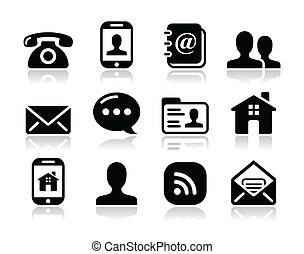 mobile, ensemble, icônes, -, contact, utilisateur