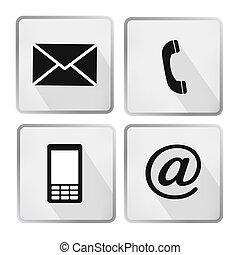 mobile, ensemble, icônes, enveloppe, -, boutons, contact, téléphone, courrier