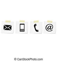 mobile, ensemble, icônes, enveloppe, -, contact, téléphone, courrier