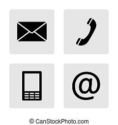 mobile, ensemble, icônes, enveloppe, -, contact, téléphone, monochrome, courrier