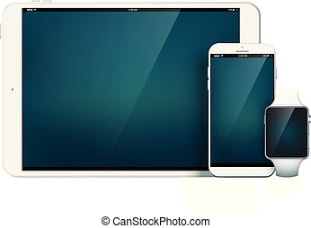 mobile, ensemble, moderne, appareils