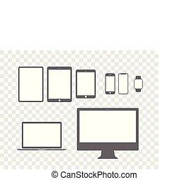 mobile, ensemble, plat, gadget, tablette, ordinateur bureau, ordinateur portable, icône
