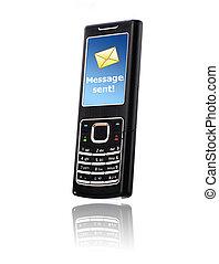 mobile, envoi, message, téléphone., concept.