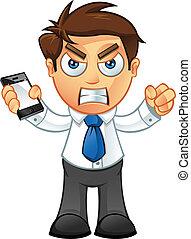 mobile, fâché, -, homme affaires