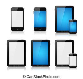 mobile, far male, telefono, con, pc tavoletta, set