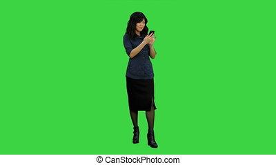 mobile, femme affaires, chroma, écran, téléphone, vert, asiatique, clã©, utilisation