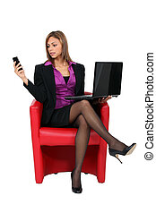 mobile, femme, informatique, téléphone, assis
