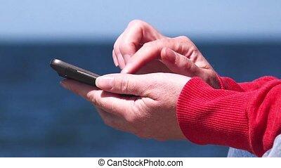 mobile, femme, smartphone